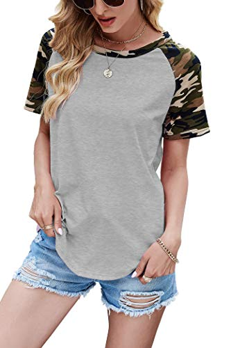 Aifer Womens Casual Crew Neck Pattern Raglan Shirt Short/Long Sleeve Tunics Tops Shirts