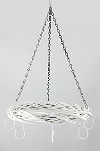 Corona decorativa para techo (34cm, con ganchos, madera), color blanco