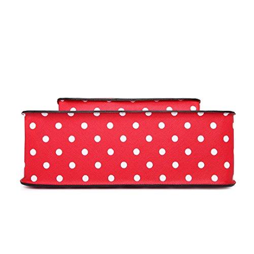 Miss Lulu marca Vintage funda lunares piel sintética bolsa de trabajo maletín Satchel Mochila Escolar - polka dots Red