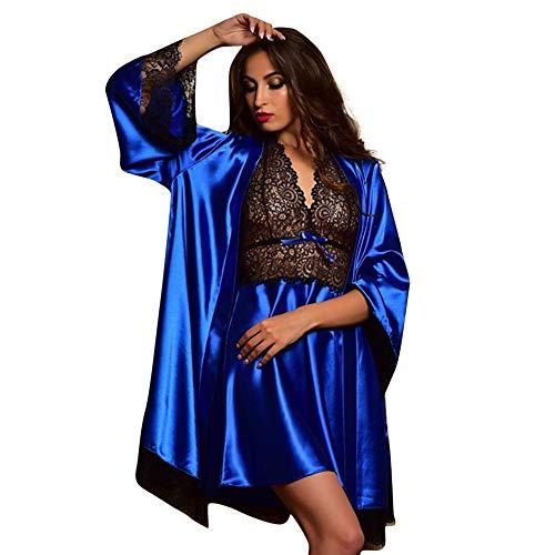 Women Nightdress Sets, 2pcs Sexy Satin Lace Sleepwear Babydoll Lingerie Robe Pajamas Set (Blue, XXXL)