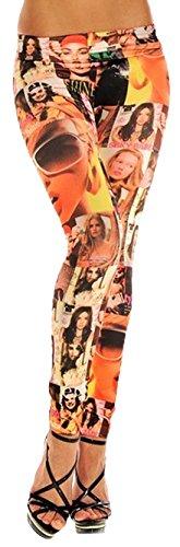 erdbeerloft - Comic Face Print Mädchen Kostüm Leggings, orange bunt, S-L