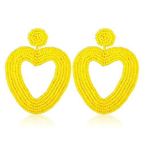 - Heart Statement Beaded Hoop Earrings Handmade Bead Drop Dangle Earrings for Women Girls Bohemian Trendy Fashion Lightweight Club Studs Ear Jewelry Accessories with Gushion Gift Box GUE135 Yellow