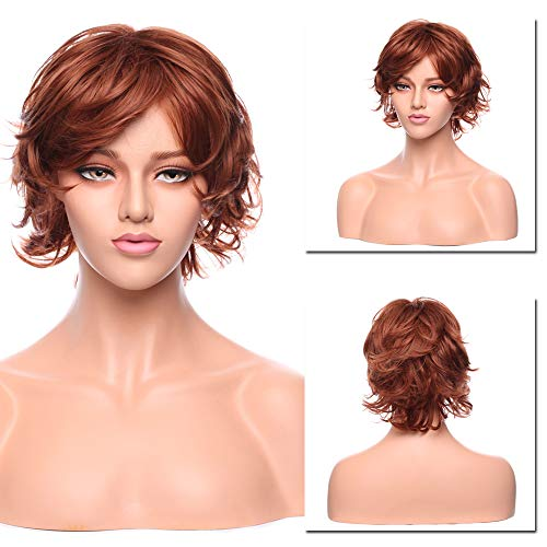 (12 Inch Short Messy Curly Synthetic Wigs for Women Pixie Fluffy Cosplay Anime Wig with Side Part Bangs Auburn)