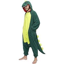 Pijama de dinosaurio para hombre completa, color verde