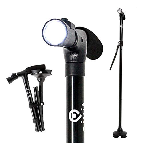 (Pivit Adjustable Folding Walking Cane with LED Flashlight | 360 Degree Roller Walk Stick Feet | Premium Foam Handle & Wrist Strap | Foldable Polished Sleek Scratch-Resistant Anodized Aluminum | Black)