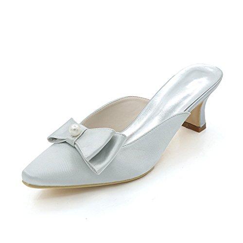 Bajos zapatillas Zapatos noche yc Sandalias Altos Party L Tacones Mujer Silver De Wedding 8Xdxw0