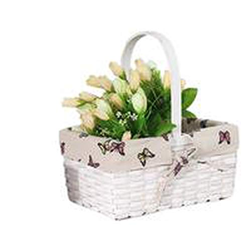 Wicker Craft Desktop Flower Storage Basket Handmade Rattan Baskets Woven Storage Box Basket Fruit Organizer Desktop Flower Pot,C L (Wicker Hobby Lobby Baskets)