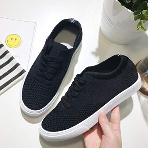 Heel Zapatos Toe Black Spring Comfort Mujer Black Canvas ZHZNVX de Sneakers Flat Closed SwU6qU8
