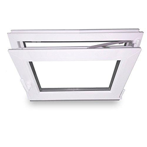 wei/ß Kunststoff BxH 600x800 // 60x80 DIN Links Fenster Lagerware 3-Fach-Verglasung Kellerfenster Wunschma/ße m/öglich