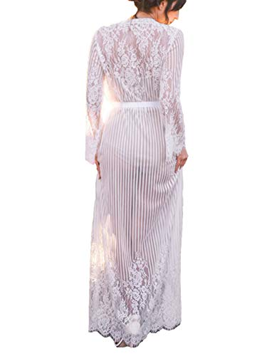 Kimono Women Boho Beach Wears Long Cardigan Robe Vertical Lines Lace Floral White (one size, 7188)