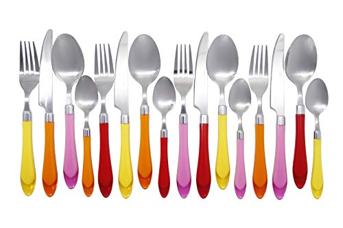 Unique Brilliant Colored Mix & Match Cutlery and Eating Utensils with Translucent Handles set of 16 pieces, Sunshine Yellow Orange Red Pink Cutlery ()