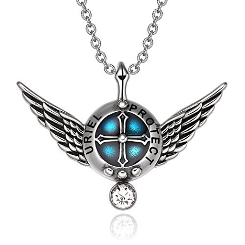 Archangel Uriel Angel Wings Protection Shield Magic Powers Charm White Crystal Pendant 22 inch Necklace by BestAmulets