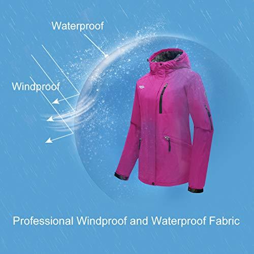c2f118b83d58 Wantdo Women s Winter Snowboard Jacket Hooded Mountain Waterproof Rainwear  Windproof Winter Coat for Skiing(Rose