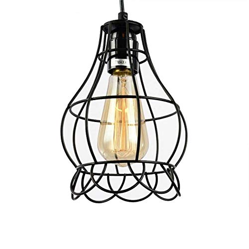 Sanguinesunny Pendant Light Ceiling Lamp Industrial Vintage Style Mini Hanging Lighting Lamp with Rose Wire Cage Guard 1-Light in Black Finish 40W 110V by Sanguinesunny (Image #9)