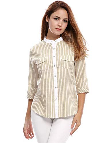 Col 3 Shirt Chemisiers Femme Dame 4 Boutonnage Chemise Battercake Rayures Printemps Rond Casual Dsinvolte Chemise Mode Elgante Simple Manches Automne Jeune Beige Tops Hipster Blouse xHY4FWw