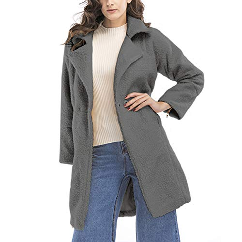 Down Loose Mid Turn Cashmere Cardigan Size Length Gray Collar Coat Plus Long AzqYw