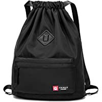 Badiya Drawstring Backpack Gym Sackpack Cinch Bags Waterproof String Bag PE Kit Bag for Men/Women