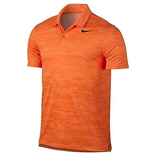 Nike Mens Icon Polo Da Golf Manica Corta Brillante Mandarino / Bianco / Nero