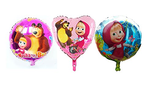 [RusToyShop] Balloon 3 Psc Metal Inflatable Balloon Masha and Bear for a Holiday Children's Kids Party Party Favor Party Supplies Invitation Deco Russian Cartoon