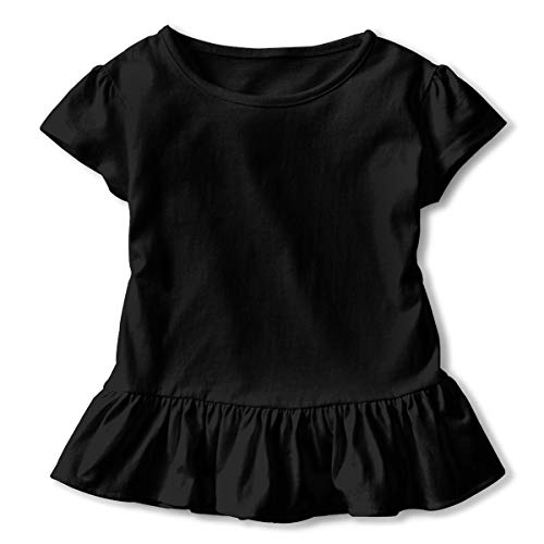 Toddler Girl Panda Nerd with Glasses Short Sleeve Dress Ruffle T-Shirt Blouse Casual Clothes Black ()