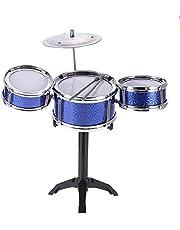 Children Kids Desktop Drum Set 3 Drums Musical Instrument Toy with Small Cymbal Drum Sticks (Color : Deep Blue)
