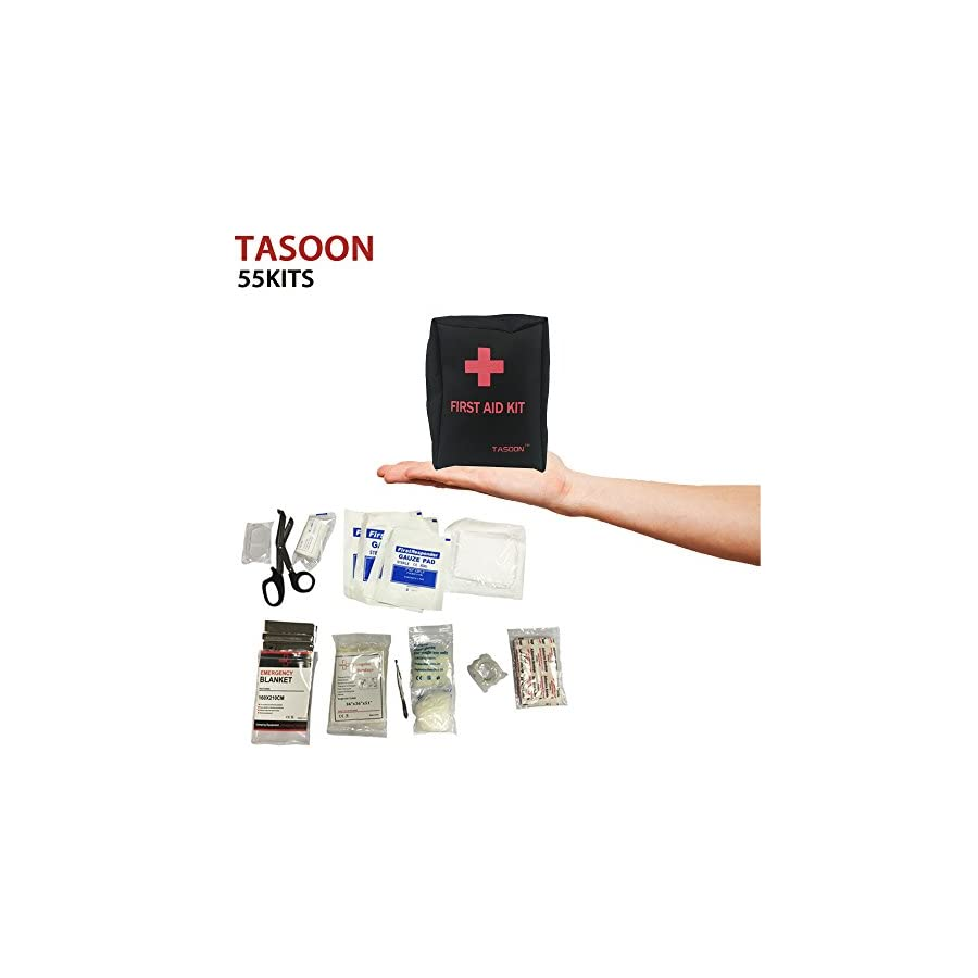 TASOON Compact First Aid Kit(55 Pieces) Medical Emergency Bag, Includes Emergency Blanket, Bandage, Medical Scissors for Home, Car, Office, Camping and Traveling