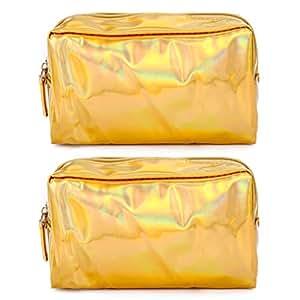 Bageek 2PCS Makeup Bag Multipurpose Clutch Wallet Toiletry Bag for Travel Home (Gold)
