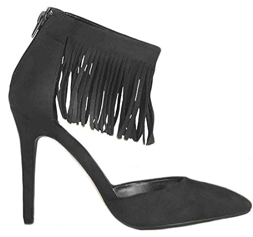 Shoes High Fringe Toe Heel Faux Stiletto Black Pointed Tassel Court Ladies Suede 6vfZwv