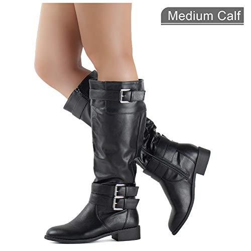 RF ROOM OF FASHION Medium Calf Buckle Knee High Riding Boots Hidden Pocket Black (8)