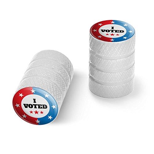 私は赤い白青愛国に投票しましたオートバイ自転車バイクタイヤリムホイールアルミバルブステムキャップ - ホワイト
