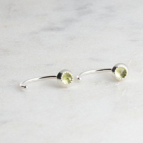 Peridot Stone Silver Open Hoop Hugger Hugging Earrings Stone 3mm