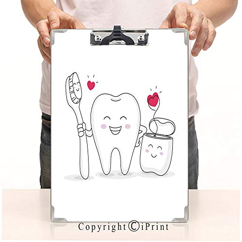 Student's Painting Clipboard,Custom Clipboard, Aluminum,PVC,A4 Standard, Cute Cartoon Tooth Character with Toothbrush and Dental Floss