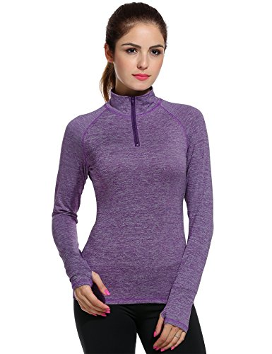 Meaneor Women's Workout Tee Long Sleeve Running Gym Sports T-Shirt Fast Dry Purple S - Long Sleeve Running Tee