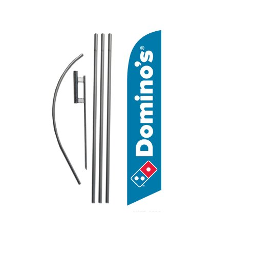 new-dominos-pizza-15ft-feather-banner-swooper-flag-kit-includes-15ft-pole-kit-w-ground-spike