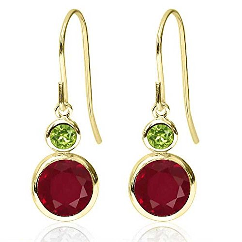 Gem Stone King 2.34 Ct Round Red Ruby Green Peridot 14K Yellow Gold Earrings