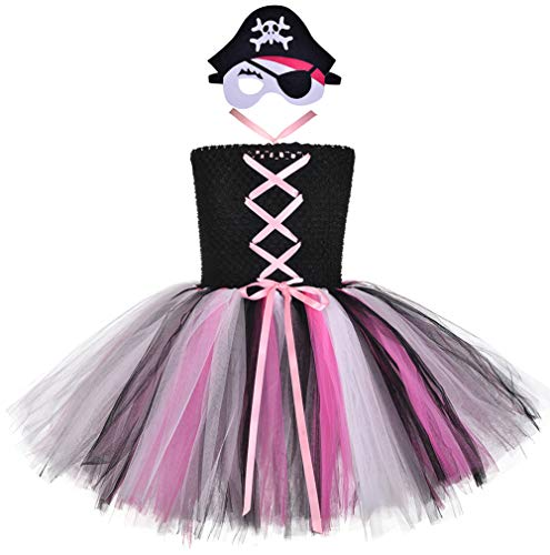 Pink Pirate Princess Costume (Tutu Dreams Pirate Outfit Baby Girls 1st Birthday Halloween Princess Buccaneer Dress Up Clothes (Pink, Small)