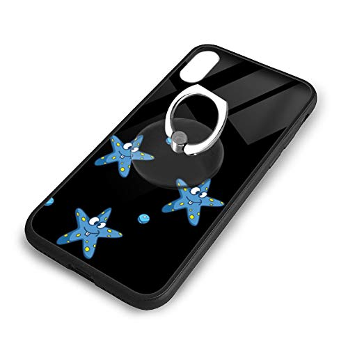 iPhone X Plus Cover Blue Starfish Case with Finger Ring Stand XS Phone Kickstand Holder Shock Protective Basic Protector]()