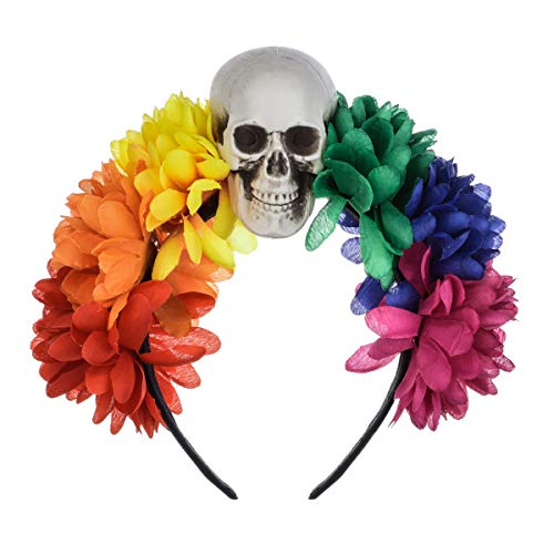 June Bloomy Rose Floral Crown Skull Day of the Dead Headpiece Halloween Party Headband (Rainbow -