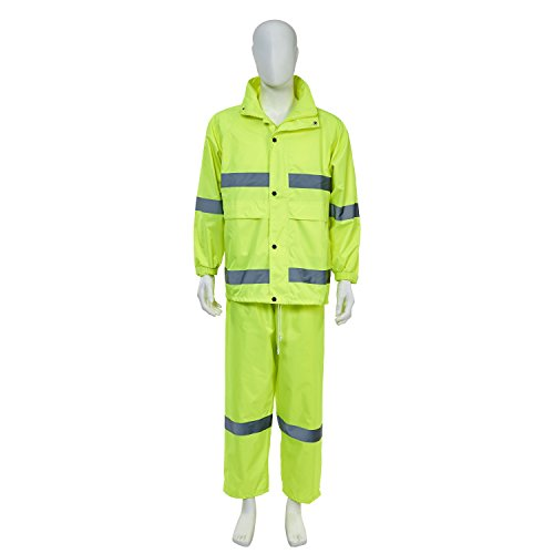 Joyutoy High Visibility Polyester Safety Reflective Rain Jacket Safety Suit Waterproof-All Weather, Construction, Motorcycle (Neon Yellow, XL) 2