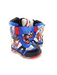 PAW Patrol Chase and Marshall Boys Water Resistant Cold-Rated -20c Warm Winter Snow Boots with Lights