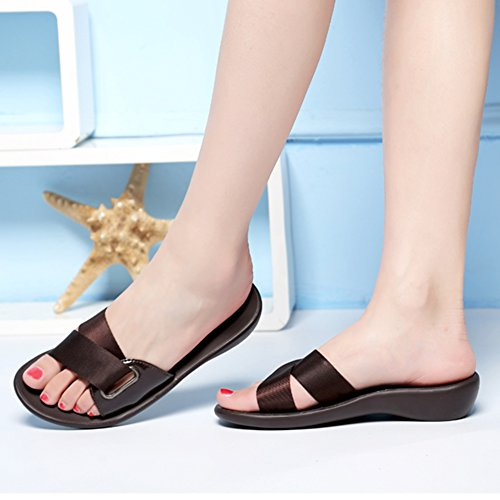 ZCJB Flat Outer and Slippers Wear Bottom Sandals Roman Student Joker Flat Heel Brown Slippers Fashion Summer AxUKdtS
