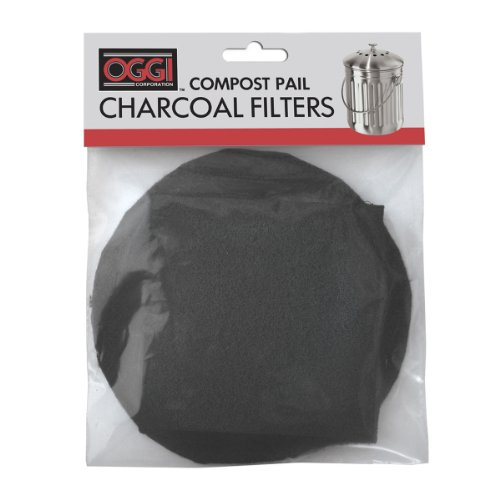 Pail Compost Filters - Oggi Replacement Charcoal Filters for Compost Pails # 7320, 5427, 5448 and 7700, Set of 2