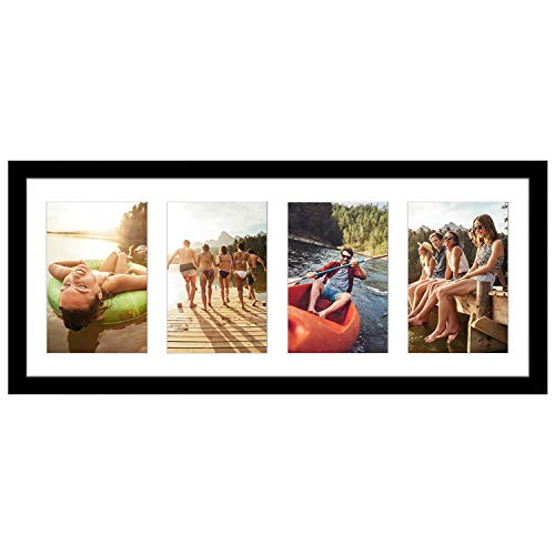 Americanflat Black Collage Picture Frame | Displays Four 4x6 inch Photos. Shatter-Resistant Glass. Hanging Hardware Included!