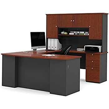 Bestar Furniture 81411 39 Manhattan U Shaped Workstation With Simple Pulls  And 3 Drawers
