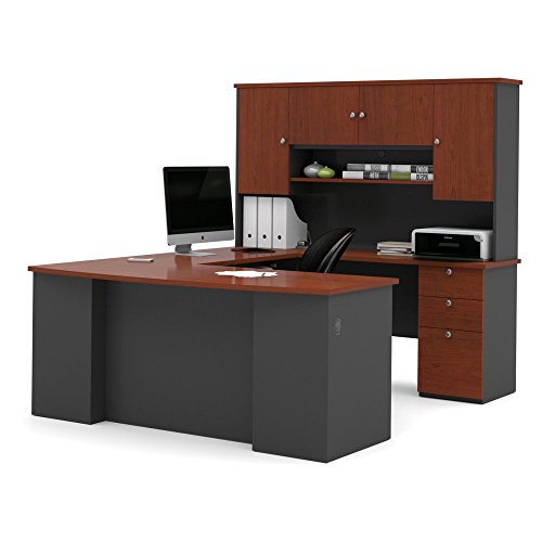 Bestar Furniture 81411-39 Manhattan U-Shaped Workstation with Simple Pulls and 3 Drawers In Bordeaux and (Bestar Office Furniture)