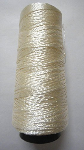 275+ Yards - Viscose Rayon Art Silk Thread Yarn - Embroidery Crochet Knitting Lace Jewelry Trim (Ivory White)