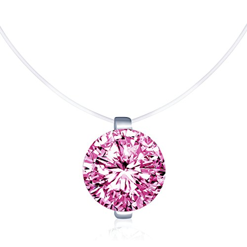 Infinite U Solitaire Pendant 925 Sterling Silver Pink Cubic Zirconia CZ with Transparent Chain Necklace for Women 16