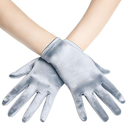 BABEYOND Short Opera Satin Gloves Wedding Evening Wrist Length Tea Party Gloves (Silver)