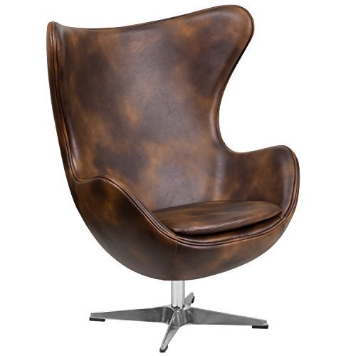 Bomber Jacket Leather Egg Chair with Tilt-Lock Mechanism