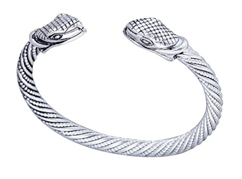 Torque Norse Boho Style Viking Snake Serpent Head Cuff Bracelet for Mens/Women Jewelry (pweter) - Head Cuff Bracelet
